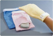 Terry Cloth Antimicrobial Wash Mitts Plain, Yellow/Small