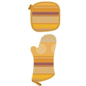 Jacquard Cotton Geo Saffron Colour Potholder and Mitt