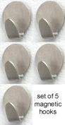 Brushed Nickel 5 MAGNETIC CLIP hooks hanger bathroom