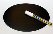 Magnetic Backed Kitchen or Office Ziggyboard Chalkboard with White chalk marker 15.2cm x 22.9cm TY Euro Oval Shape