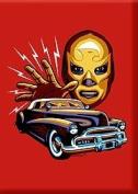 Artist Marco Almera Masquerado Lucha Wrestler Hotrod Fridge Magnet