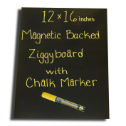 Magnetic Backed Kitchen or Office Ziggyboard Chalkboard with Yellow chalk marker 30.5cm x 40.6cm