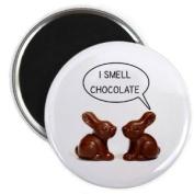 I SMELL CHOCOLATE Easter Bunny 5.7cm Locker Fridge Magnet