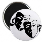 COMEDY TRAGEDY Drama Masks on White Funny 5.7cm Fridge Magnet