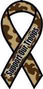 Support Our Troops - 10.2cm x 20.3cm Camo Ribbon Magnet