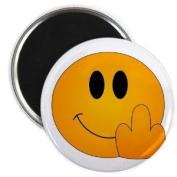 SMILEY MIDDLE FINGER BIRD Funny Face 5.7cm Fridge Magnet