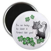 LUCKY KITTY CAT St Patrick's Day 2.25 Fridge Magnet