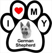 I Love My Breed Paw Magnet- German Shepard