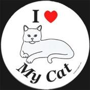 I Love My Cat Circle Magnet