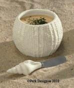 Calming Waters Sea Urchin Seashell Dip Bowl & Spreader Set