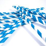 Bella Cupcake Couture Paper Party Striped Straws, Blue/White