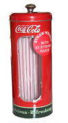 Vintage Style Coca Cola Coke Tin Drinking Straw Holder, 50 Straws Included