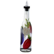 ArtisanStreet's Vegetable Design on Clear Glass Pour Bottle. Hand Painted & Signed by Artisan