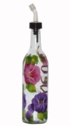 ArtisanStreet's Clear Glass Oil Bottle. Hand Painted with Pansy Design. Features Open & Close Spout. Made to Order, Signed by Artisan.