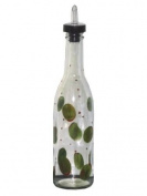 ArtisanStreet's Green Olive Design on Clear Glass Pour Bottle. Hand Painted & Signed by Artisan