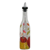 ArtisanStreet's Autumn Themed Design on Clear Glass Pour Bottle. Hand Painted & Signed