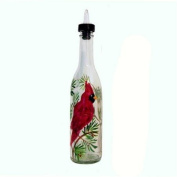 ArtisanStreet's Cardinal Design on Clear Glass Pour Bottle. Hand Painted & Signed by Artisan