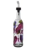 ArtisanStreet's Clear Glass Olive Oil Bottle. Hand Painted with Grape Design. Made to Order, Signed