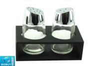 New Glass Salt & Pepper Set - With Base / Stand - Elegant Design / Transparent Glass Base.