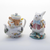 Alice in Wonderland White Rabbit and Dormouse Salt and Pepper