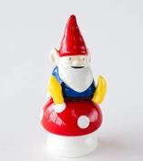 Garden Gnome Sitting on Mushroom Salt and Pepper Shakers Set