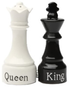 Queen and King Chess Magnetic Ceremic Salt and Pepper Shakers