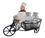 Bicycle Riding French Chef Salt And Pepper Shaker Set