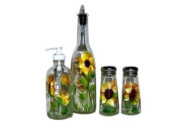 ArtisanStreet's 4-piece Hand Painted Glass Condiment Set with Sunflower Design Made to Order, Signed by Artisan