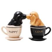 Cocker Spaniel Pups in Tea Cups Magnetic Salt & Pepper Shakers