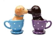 Labrador Retriever Teacup 3 1/2'' tall Magnetic Salt and Pepper Shakers