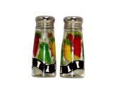 ArtisanStreet's Salt & Pepper Shakers with Chilli Design of Red, Yellow & Green Chilies. Hand Painted, Signed
