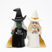 Good Witch and Bad Witch Magnetic Ceramic Salt & Pepper Shakers 8607