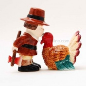 Hand Painted Ceramic Magnetic Salt and Pepper Shaker Set- Thanksgiving Turkey