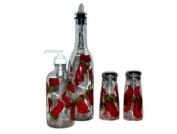 ArtisanStreet's 4-piece Hand Painted Glass Condiment Set with Chilli Pepper Design. Made to Order, Signed by Artisan