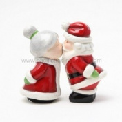 Hand Painted Ceramic Magnetic Salt and Pepper Shaker Set- Santa and Mrs Claus
