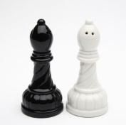 3.952.5cm Black and White Ceramic Chess Bishop Salt and Pepper Set