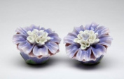 Identical Pair of Blue and Purple Dahlia Salt and Pepper Collectible