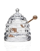 BEEHIVE CRYSTAL HONEY JAR WITH WOOD DIPPER