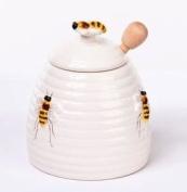 3-piece Set Honey Bee Beehive Pot / Jar with Dipper, 10.7cm