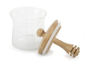 Core Bamboo Glass Honey Comb Jar with Built in Bamboo Honey Dipper