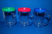 3X Set Lot of Magic Bullet Party Mugs Cups w Coloured Lip Ring GENUINE ORIGINAL
