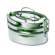 Rome 2662 Stainless Steel 2-Tier Mini Oval Tiffin Food Carrier, 12.7cm by 7.6cm