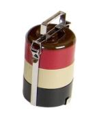 Vivo Small Round Bento Box, Black, Red, Tan, Brown