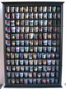 144 Shot Glass Display Case Holder Cabinet Shadow Box, Hinged Door, Solid Wood, Black Finish