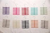 Three Velvet Hanger Flocked Non-slip Scarf Tie Belt Velvet Hanger Metal Hook - 3 Pack - 12 Bars - Different Colours Available