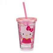 Vandor 18014 Hello Kitty Acrylic Travel Cup with Lid and Straw, 350ml, Pink