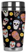 Mugzie® brand 470ml Travel Mug with Insulated Wetsuit Cover - Sugar Skull Toss