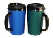 2 ThermoServ Foam Insulated Coffee Mug 590ml w/Lids (1)Blue & (1) Green