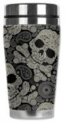 Mugzie® brand 470ml Travel Mug with Insulated Wetsuit Cover - Paisley Skulls