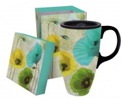 Boxed Ceramic Latte Travel Mug 500ml - Spring Floral